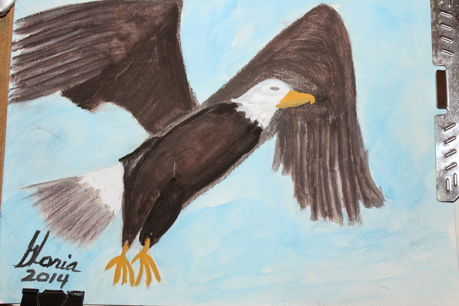 Eagle landing sketch by Gloria Poole of Missouri 5 June 2014