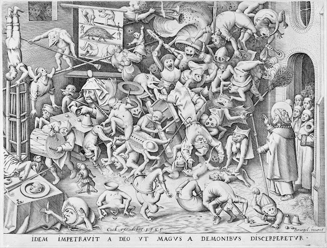 Fall of the Magician engraving by Pieter van der Heyden (1565) after Pieter Bruegel the Elder