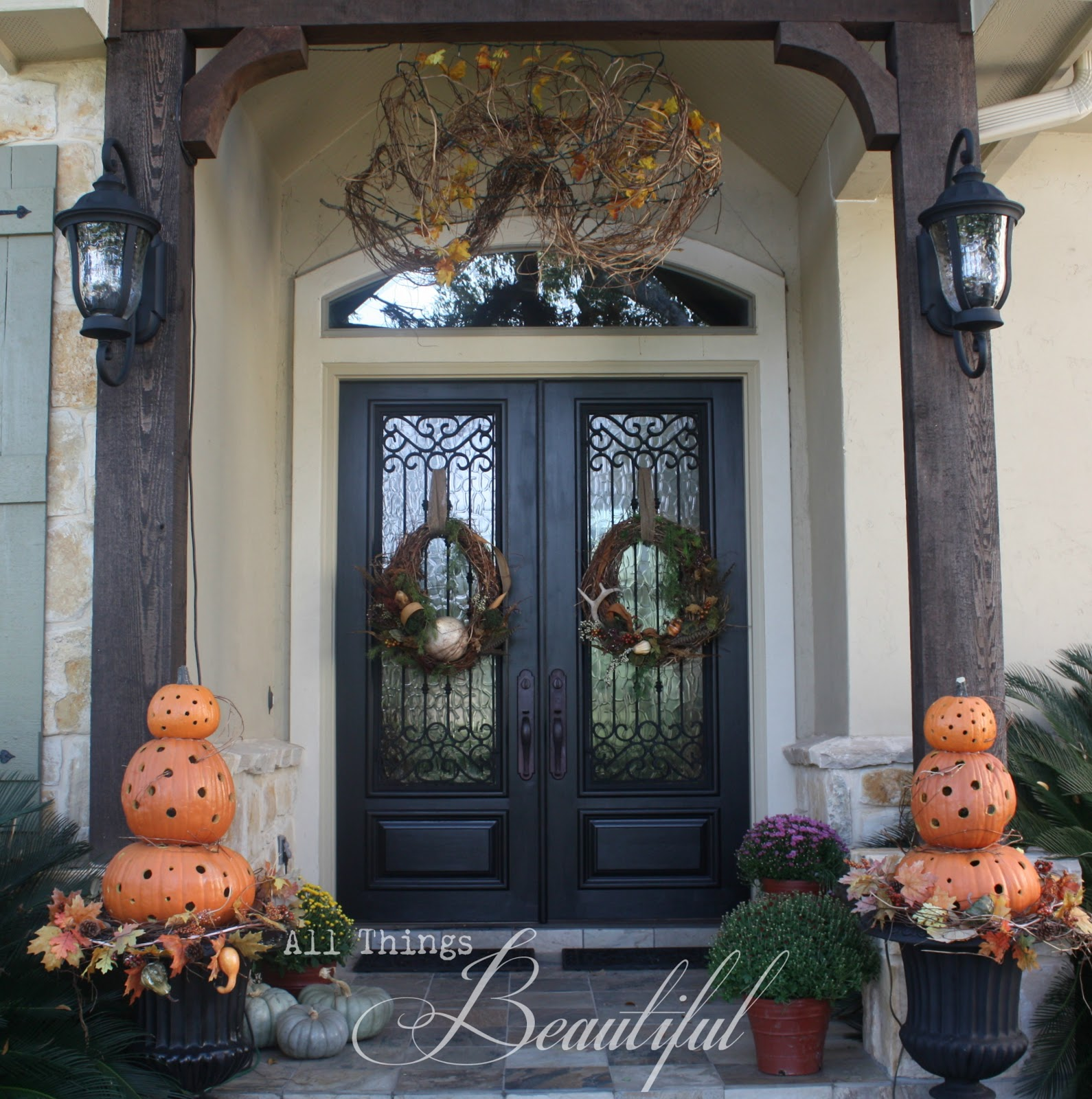 Exterior Front Door Fall Decorations: All Things Beautiful: {Fall Wreath} Porch Decor