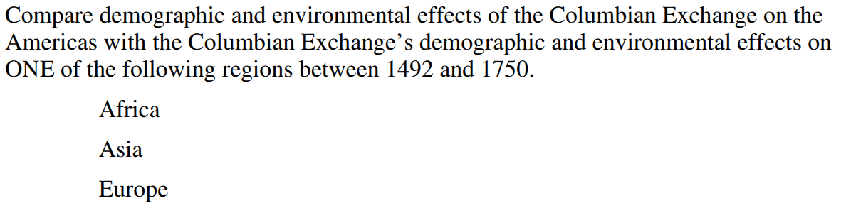 world history advanced placement mr duez  after the test for unit 4 we ll flip a coin between one of these two questions comparative essay prompts 1 2012 comparative columbian exchange