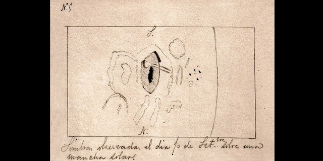 Drawing by Valderrama of the solar flare he observed on 10 September 1886 on a sunspot (with the penumbra shown with hashed lines and the umbra in black). It shows the tadpole-shaped flare. The original document is held at the Library of the Canary Islands Astrophysics Institute. / Credit: IAC