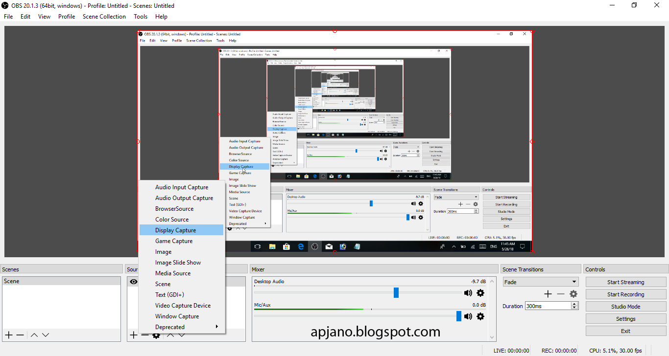 how to change screen that obs recordes