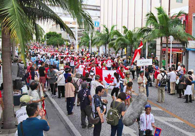 Canadian group marching down Kokusai Street, Naha, Okinawa