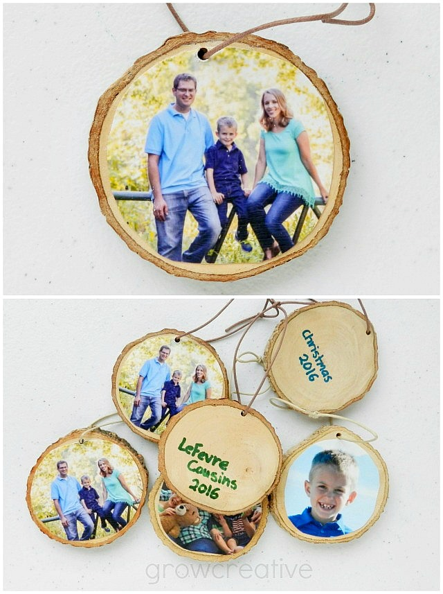 Rustic Christmas Wood Slice Ornaments with Family Photos: Grow Creative Blog