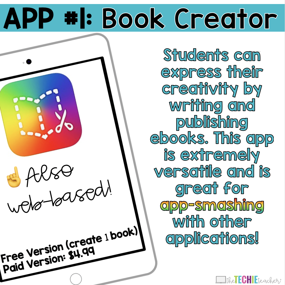 Book Creator App for Elementary Students: Students can express their creativity by writing and publishing ebooks. This app is extremely versatile and is  great for  app-smashing with other applications!
