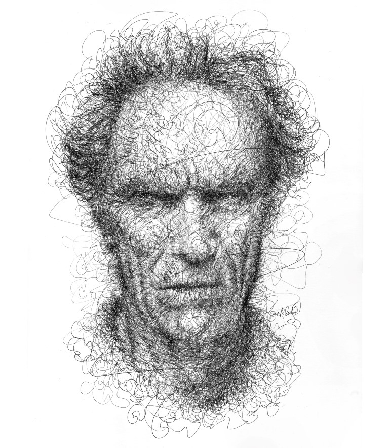 12-Clint-Eastwood-Erick-Centeno-Superheroes-Celebrities-and-Cartoons-Scribble-Drawings-www-designstack-co
