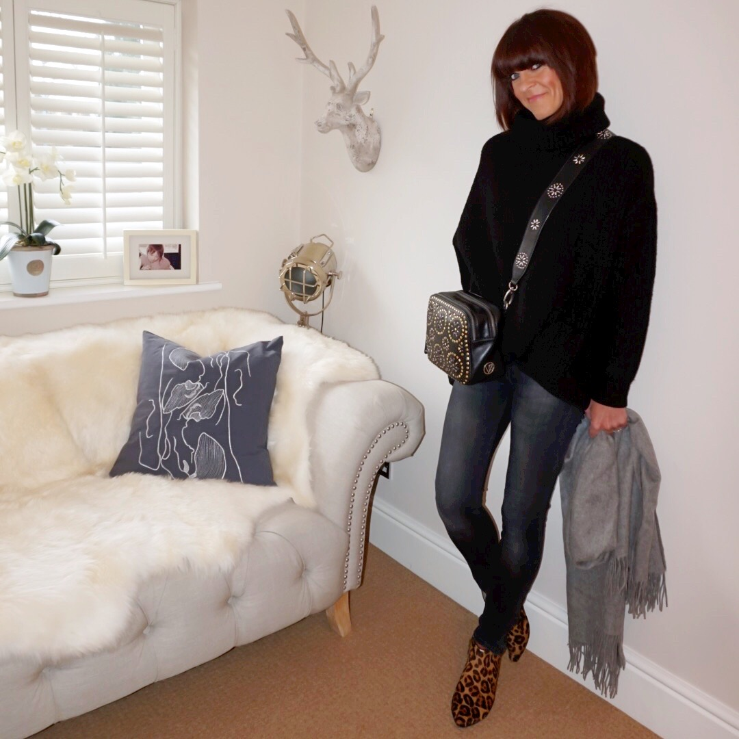 my midlife fashion, zara oversized chunky polo neck jumper, zara faded black skinny jeans, boden jonnie leopard print flat ankle boots, village england penshaw studded cross body bag, village england luxury leather porlock cross body strap