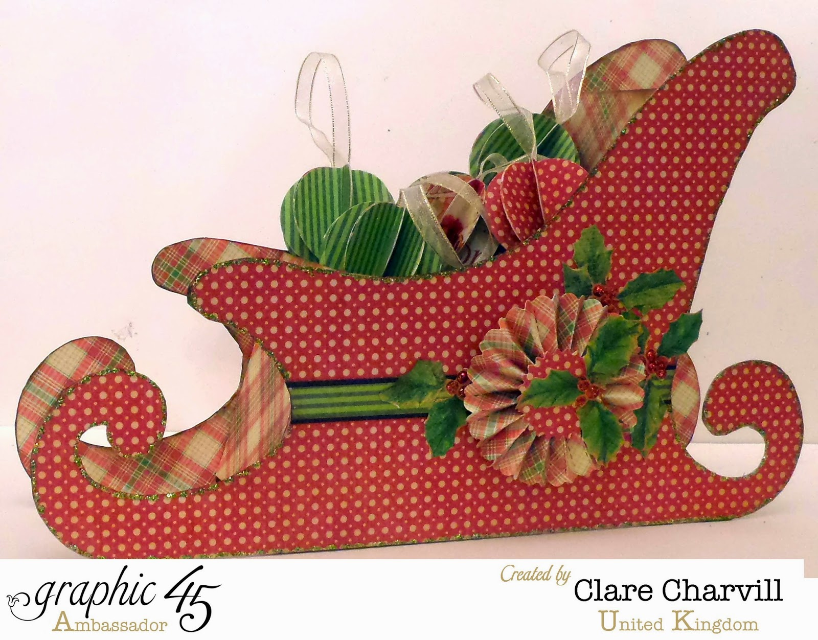 Twas the Night Before Christmas Sleigh altered by Clare Charvill Template from the House of Zandra
