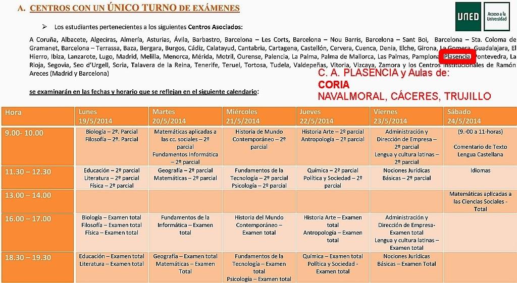 Uned Calendario Examenes.Uned Aula De Coria Caceres Cursos De Acceso Examenes De