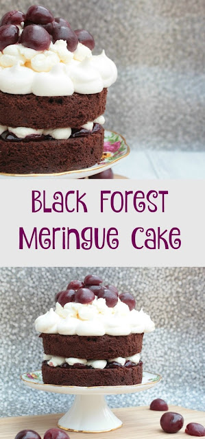 black forest meringue cake. Chocolate cake sandwiched together with cherry jam and cream and topped with meringue and cherries