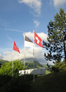 Swiss flag outside the hotel in Gruyères, Switzerland