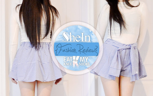 Part 2 of my 3-piece SheIn mini clothing haul features a blue striped tie-waist skort, a super cute and casual piece that's perfect for summer. - Eat My Knee Socks / Mimchikimchi
