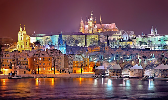 view of Prague at night in winter