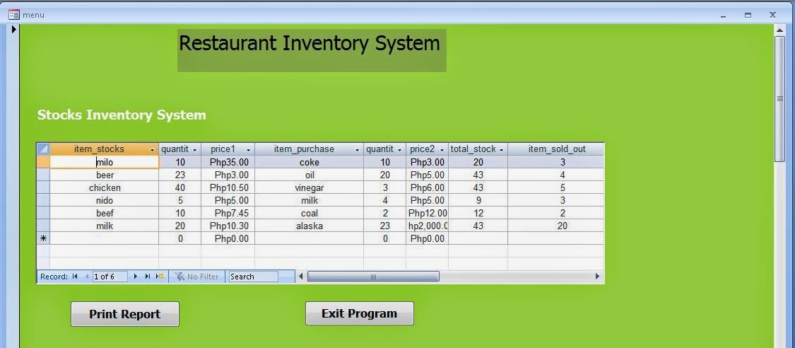 Free Programming Source Codes And Computer Programming Tutorials Restaurant Inventory System In Ms Access