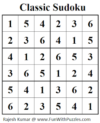 Classic Sudoku (Mini Sudoku Series #24) Solution