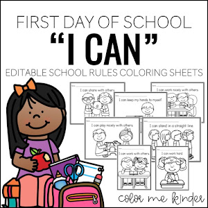 """I CAN"" School Rules Coloring Sheets"