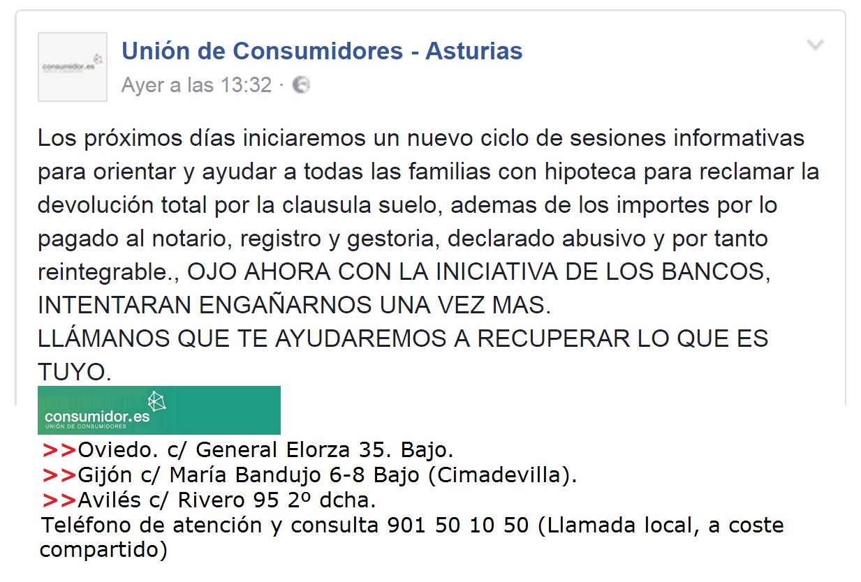 El morri n la uni n de consumidores de asturias sobre la for Clausula suelo asturias