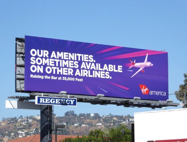Our amenities Virgin America billboard