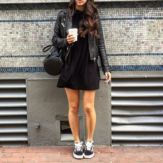 Street Style - Leather Jacket + Black Vans Old Skool Sneakers