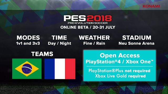 PES 2018 tendrá beta online a partir del 20 de julio en PS4 y ONE