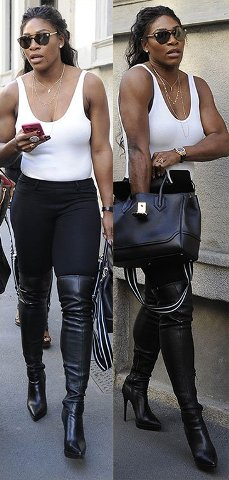 checkout Serena Williams thigh high boots