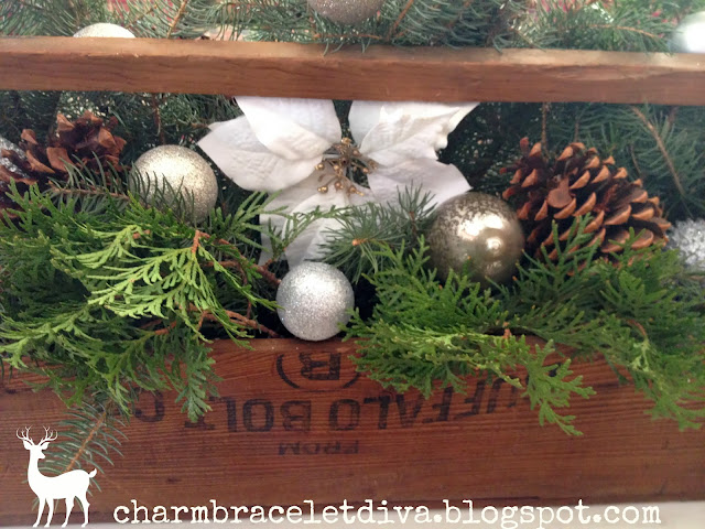 vintage wooden tool box ornaments evergreens Christmas centerpiece