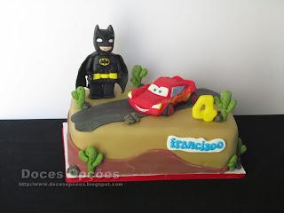 O Batman e o Faísca Mcqueen no aniversário do Francisco