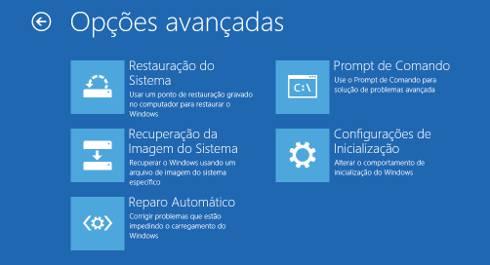 opçoes avançadas de recuperação windows 10