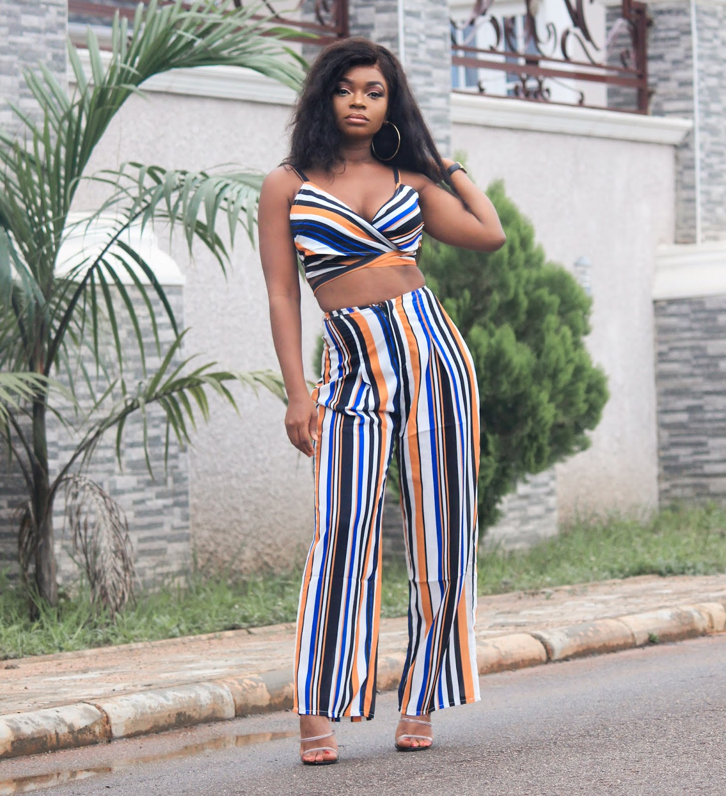 STRIPED TROUSER & TOP - Zaful Striped Palazzo Trouser and Top