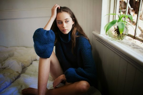 daydream lily photography pondering girl blue sweater