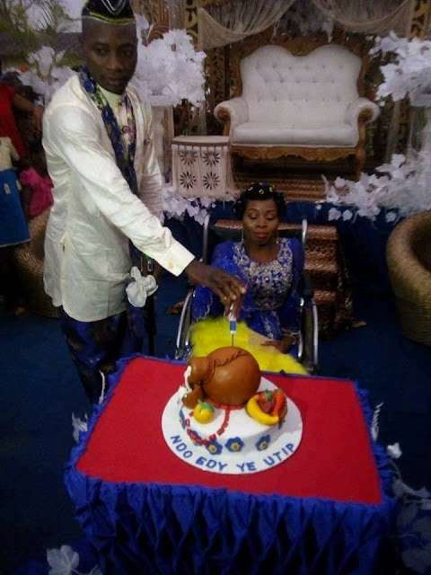 AKWA IBOM MAN WEDS A PHYSICALLY CHALLENGE LADY ON WHEELCHAIR YESTERDAY [PHOTOS]