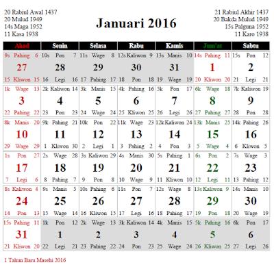 Kalender Tahun 2016