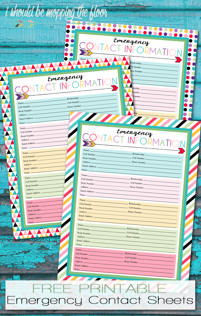 Free Printable Emergency Contact Sheet | A series of over 30 free organizational printables from ishouldbemoppingthefloor.com | Three Designs & Instant Downloads