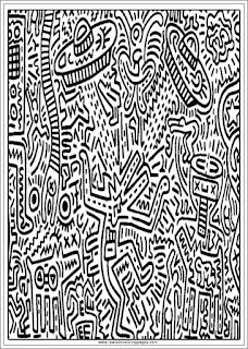 flying saucers keith haring arts adults coloring pages