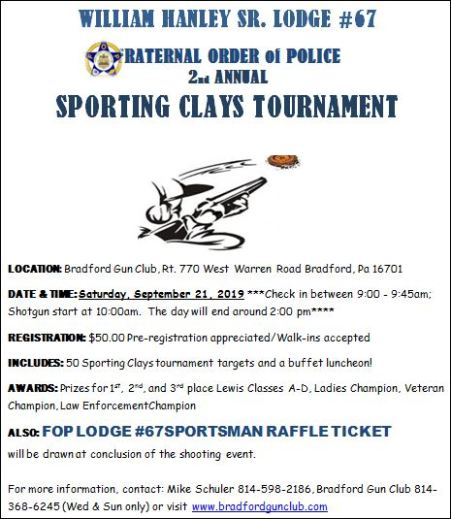 9-21 FOP Lodge #67 2nd Annual Sporting Clays Tournament