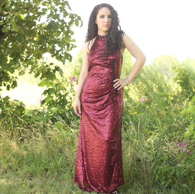 Burgundy Sequin Evening Gown