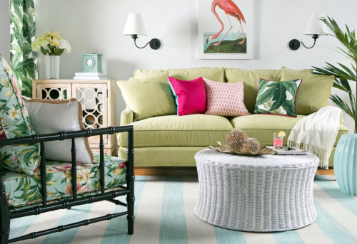 Tropical Island Living Room Idea with Green Sofa