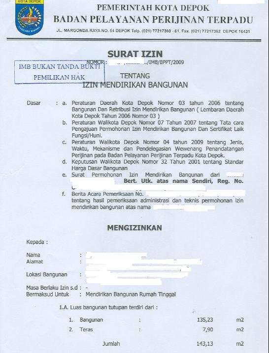 Pemutihan Imb Di Kota Depok Blog Informasi