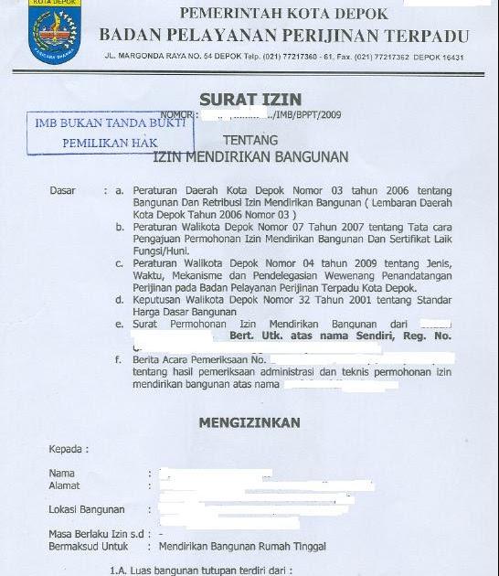 Pemutihan IMB Di Kota DepoK ~ Blog Informasi