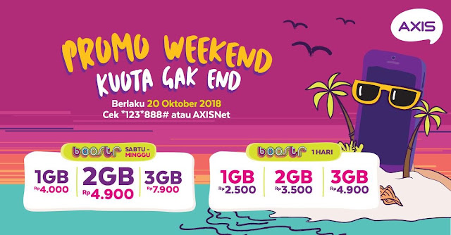 Axis - Promo Weekend Kuota Gak End Mulai 4 Ribuan (20 Oktober 2018)