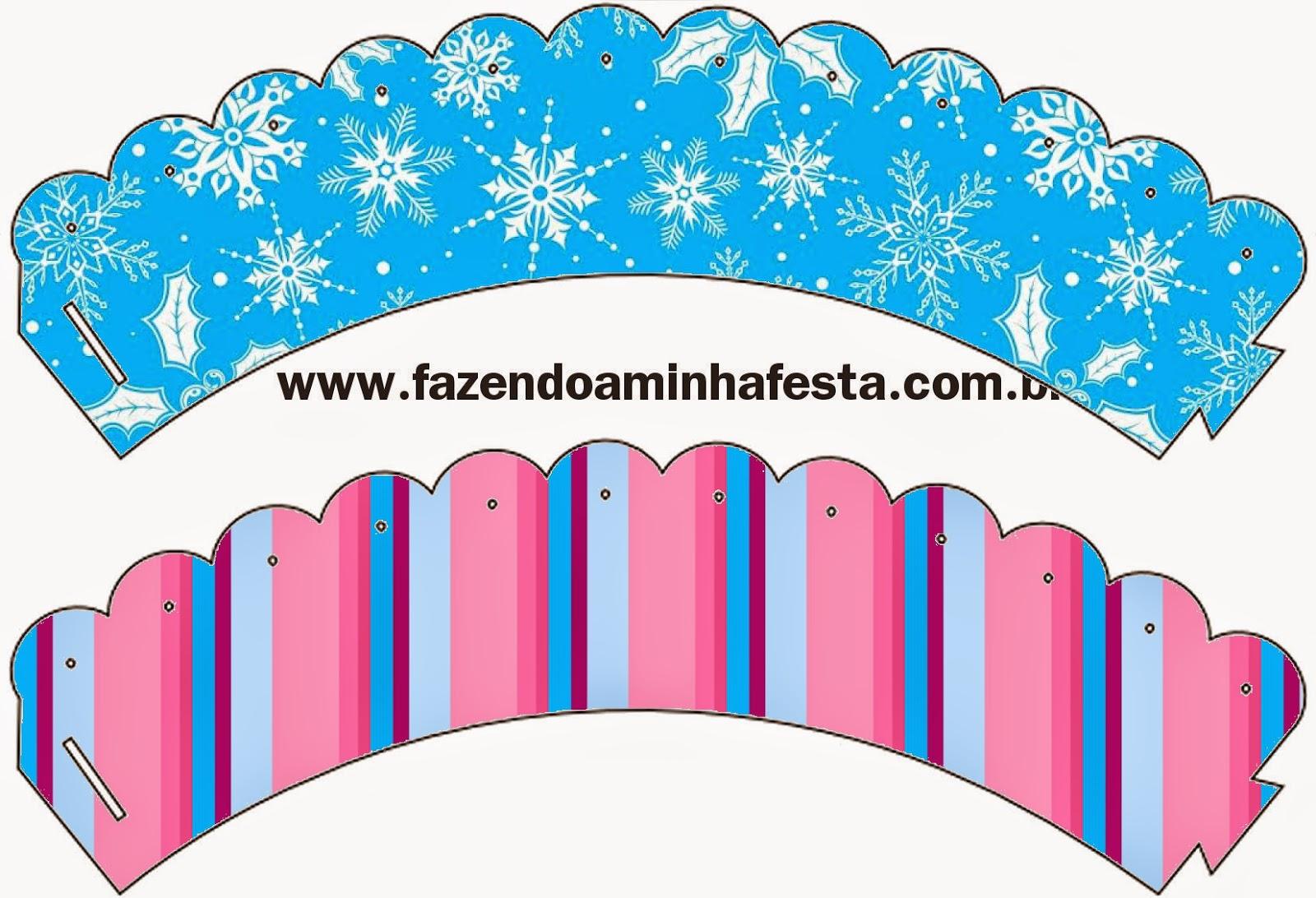 Wrappers para cupcakes de Frozen en Morado y Celeste para Navidad.