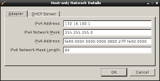 screenshot of the host only network preferences screen