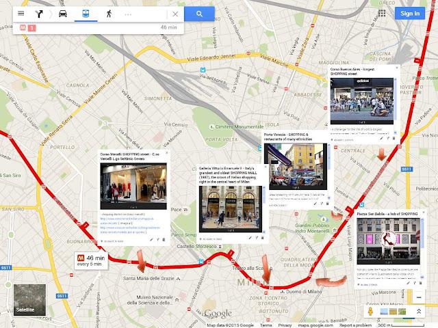 map  of Milan top best shopping districts, Corso Buenos Aires, Porta Venezia, San Babila, Galleria Vittorio Emanuele II, Piazza del Duomo, Corso Vercelli, all along the red M1 Metro line