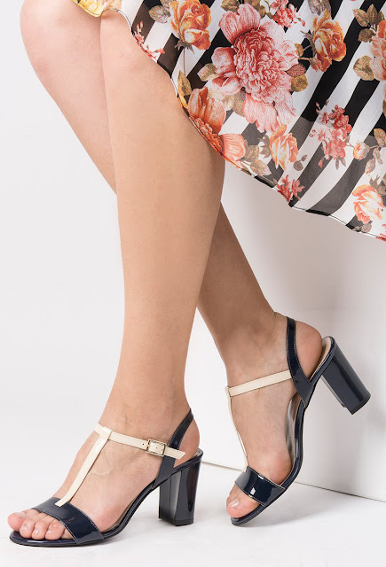 Sandale albastre-inchis elegante din piele naturala cu toc inalt si gros