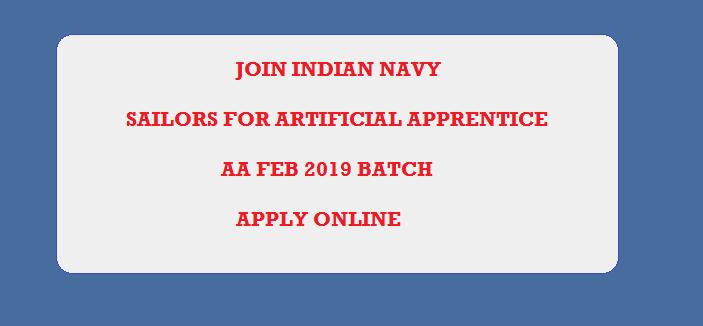 Indian Navy Sailors Artificer Apprentice (AA) Recruitment Feb 2019 Batch Apply Online