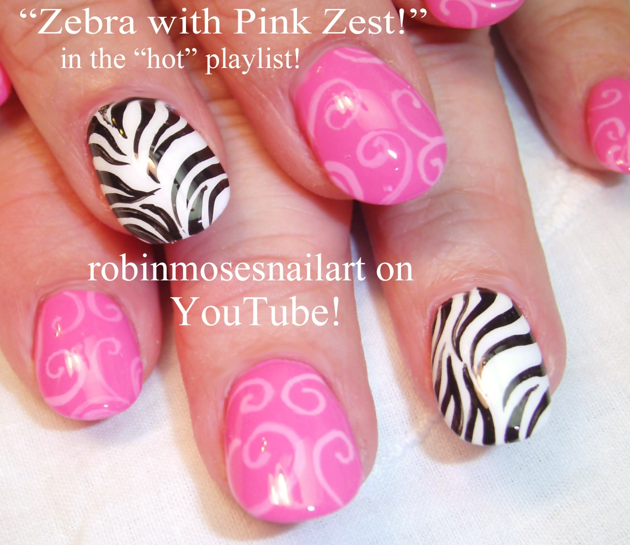 Nail Art By Robin Moses Hot Pink Nails With Black And Silver Zebra