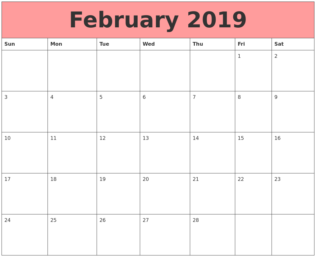 February 2019 Blank Calendar Cocu Seattlebaby Co