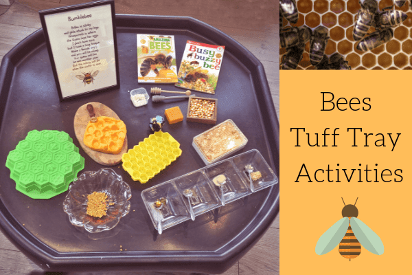 bees tuff tray activity - tuff tray set up with resources for learning about bees