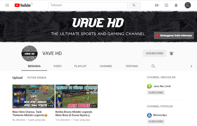 Channel Youtube VAVE HD Rekomendasi