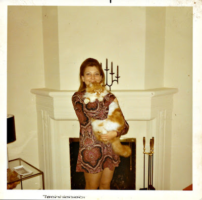 Amber the Cat (and Lena Vasilev) on Beverly Street in Merced Heights in the early 1970's